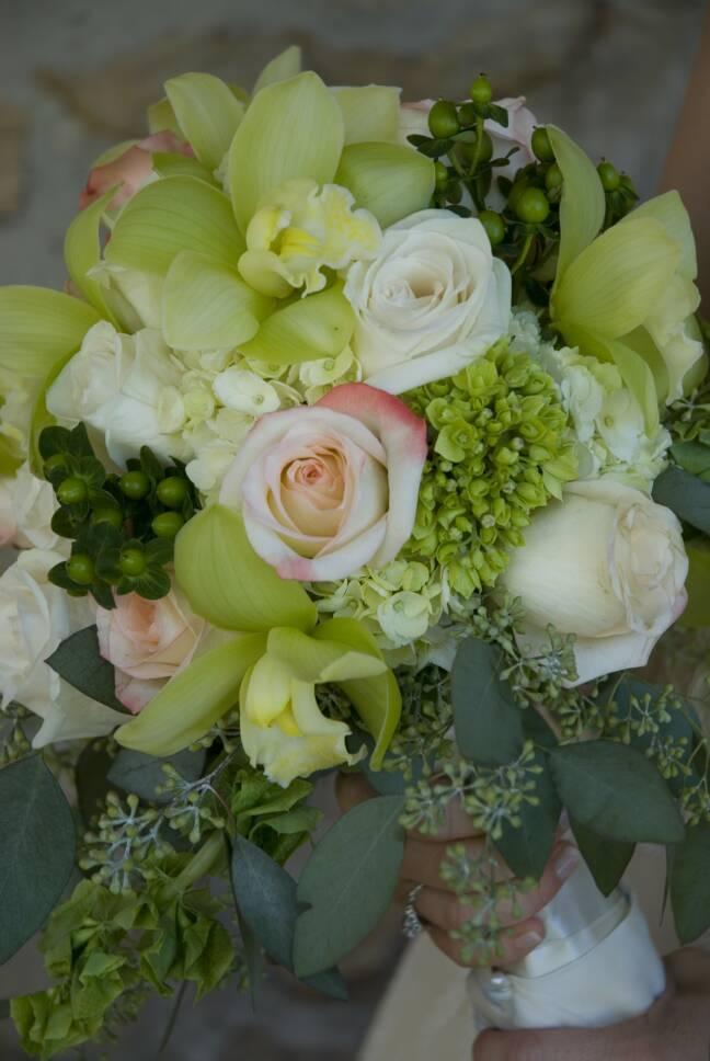 Floralisa Green Cymbidium, Hydrangea And Rose Bouquet. Photo: Octavia Hunter
